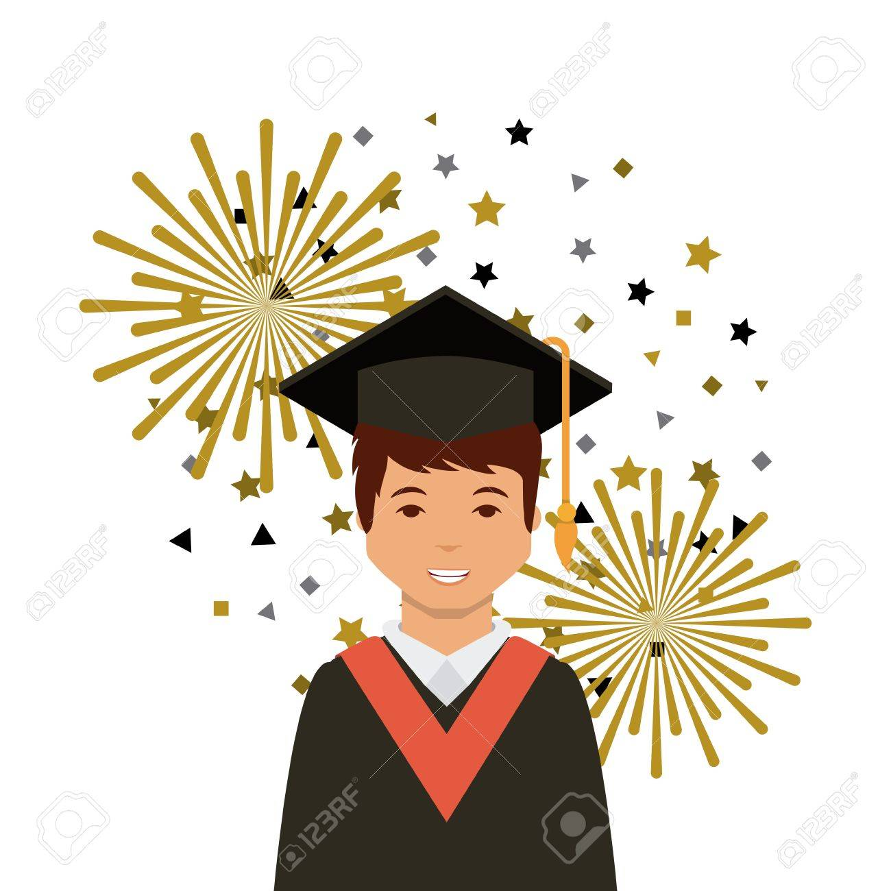 Cartoon Graduate Man With Graduation Gown And Hat Icon Over White ...