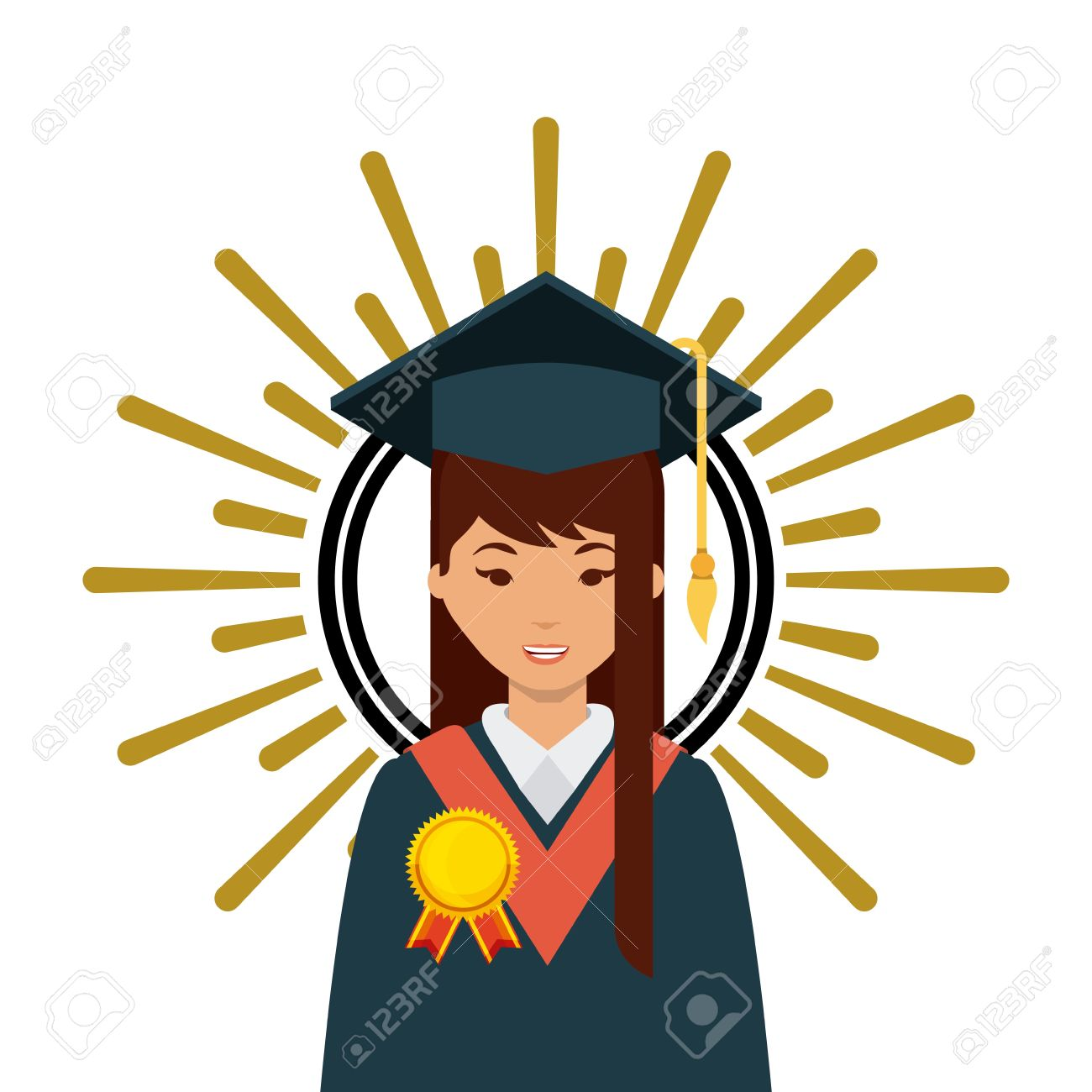 Cartoon Graduate Woman With Graduation Gown And Hat Icon Over ...