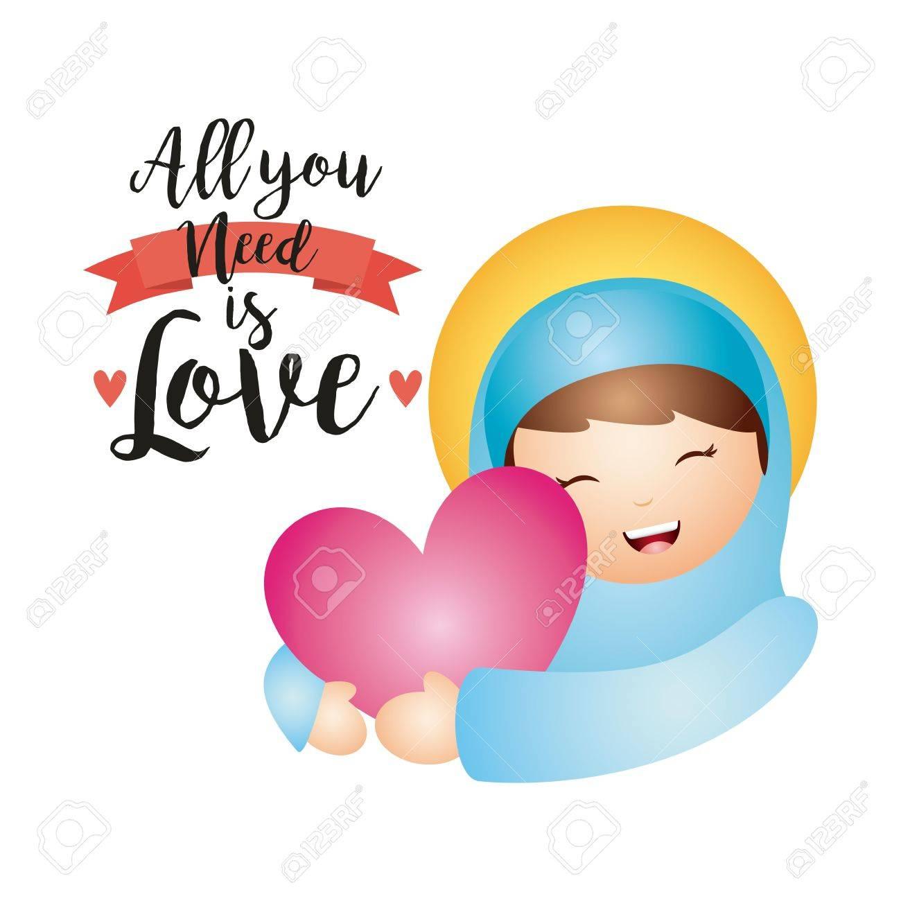Virgen María De Dibujos Animados Que Abraza Un Corazón De Color Rosa