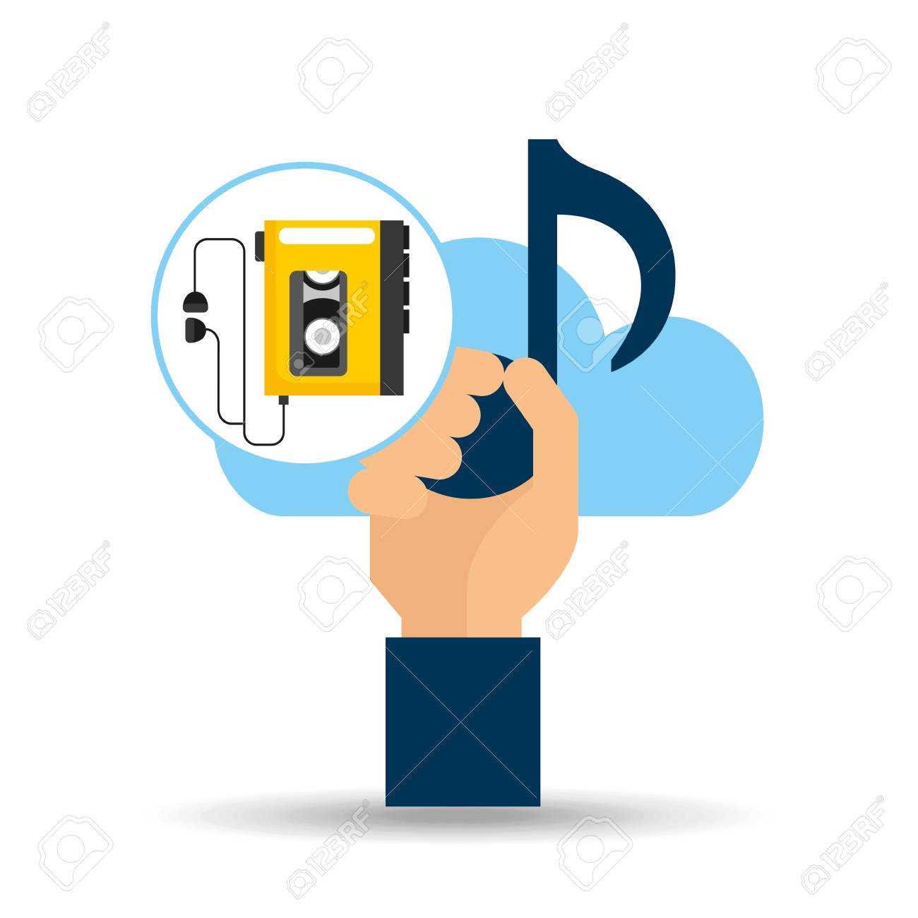 hand hold note music cloud and music player retro vector illustration
