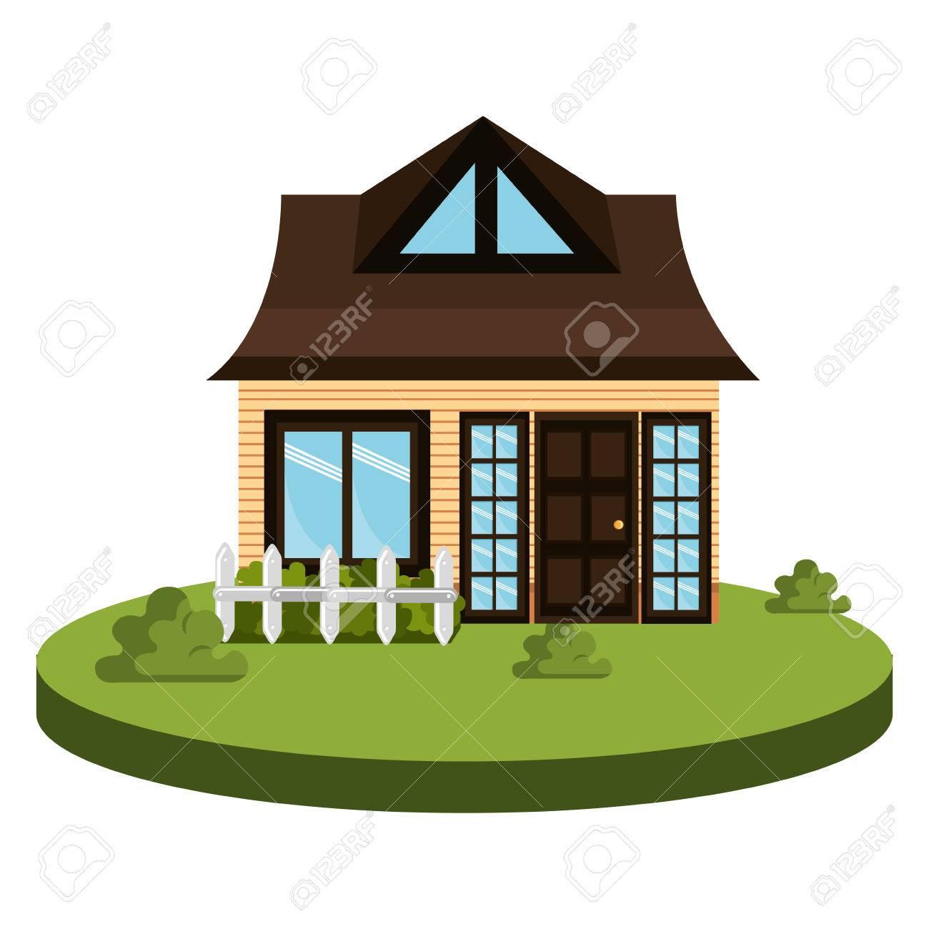 Schönes Haus Außen Symbol Vektor-Illustration, Design, Lizenzfreie ...