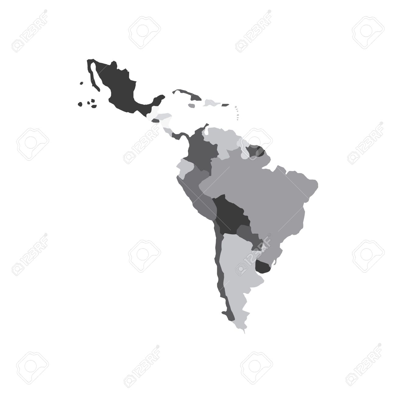 Latin America Map Icon Over White Background Vector Illustration