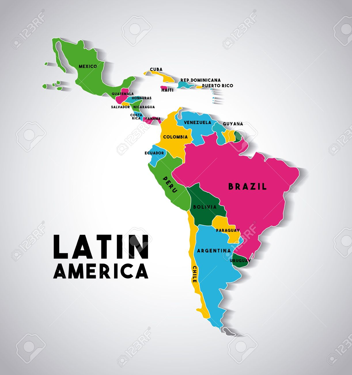 Map of Latin America with the countries demarcated in different colors. colorful design. vector illustration - 67878330