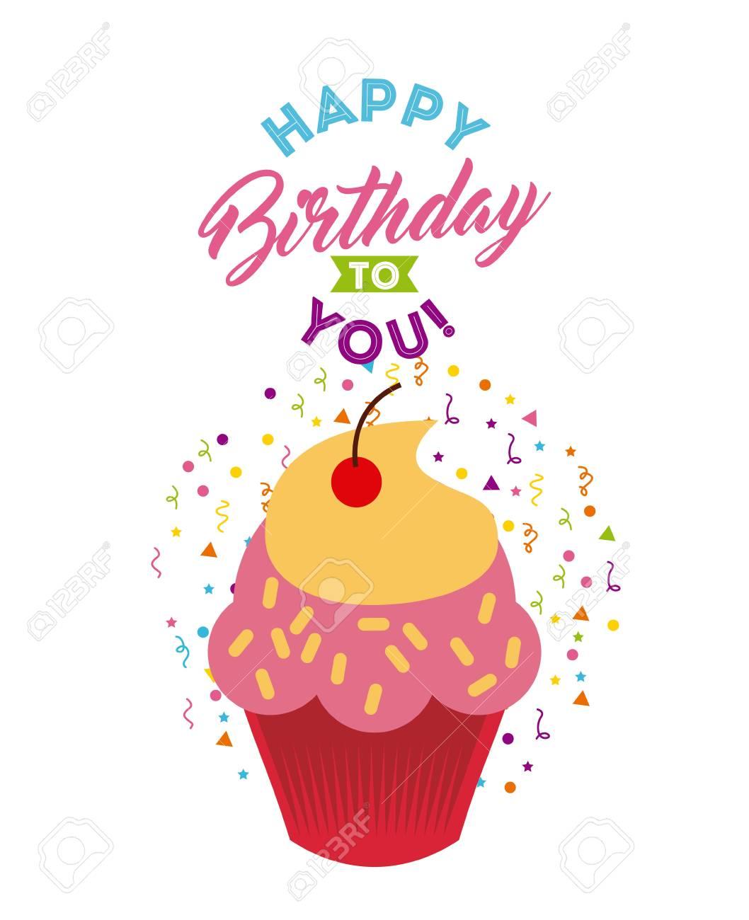Tarjeta De Feliz Cumpleaños Con El Icono De Dibujos Animados Cupcake