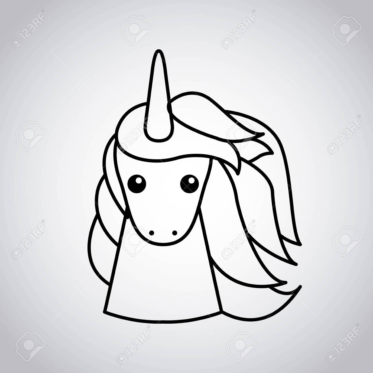 Drawing Cute Unicorn Icon Vector Illustration Design Stock