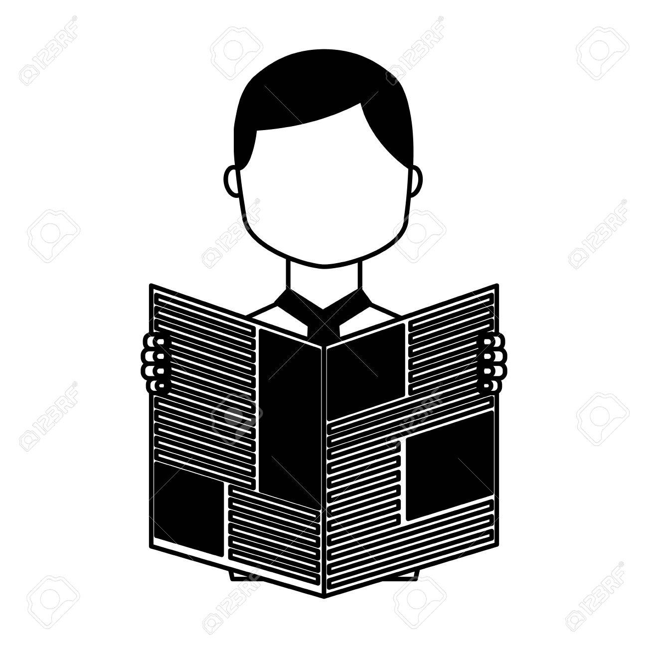 man reading newspaper icon vector illustration design royalty free