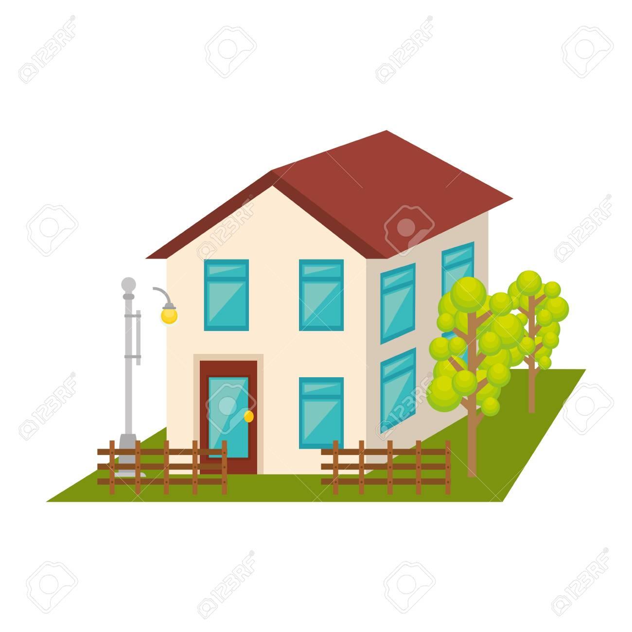 Außen Nettes Haus-Symbol Vektor-Illustration, Design, Lizenzfrei ...