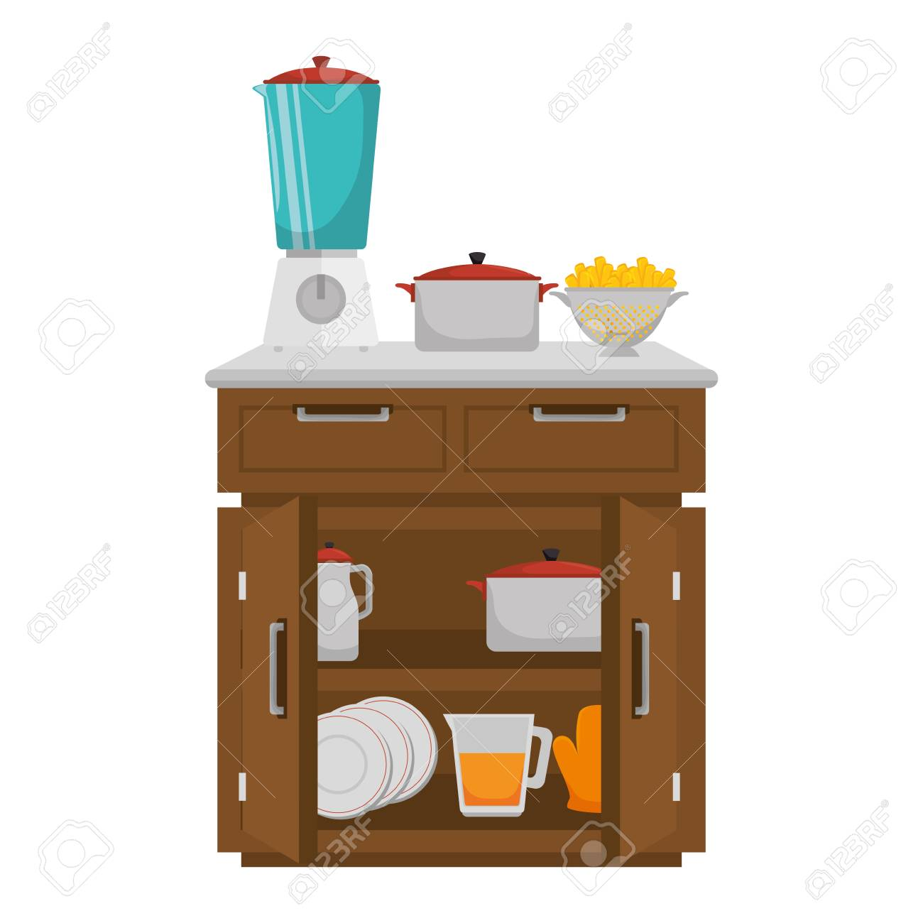 Küchenkommode Mit Gerätevektor Illustrationsdesign Lizenzfrei