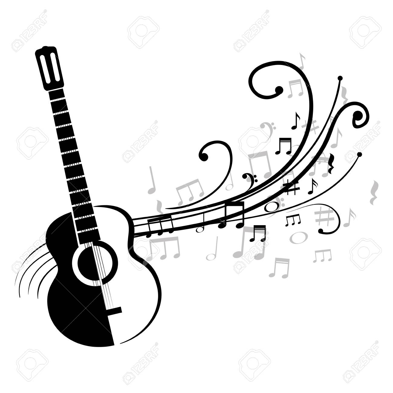 Acoustic Guitar With Musical Notes Vector Illustration Design