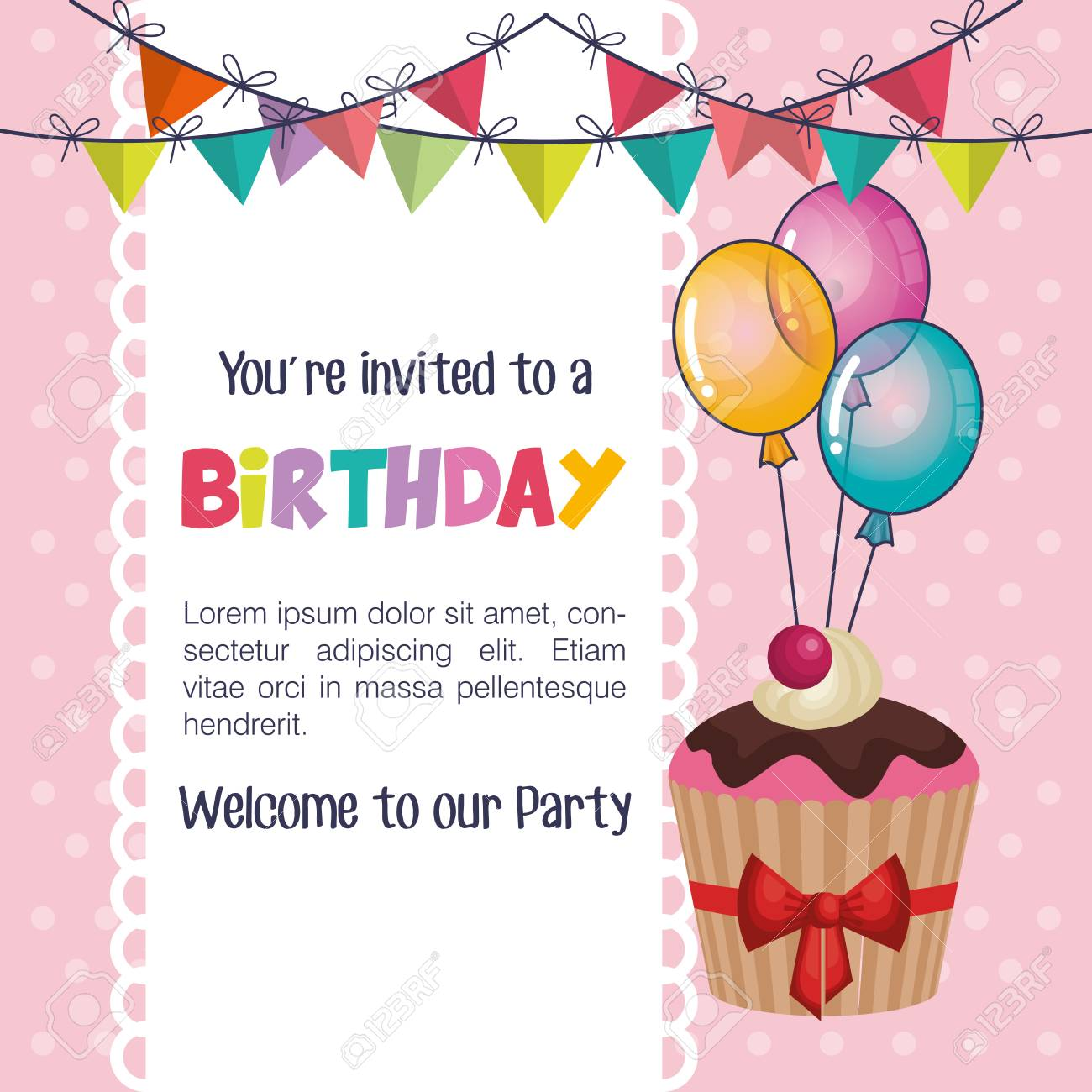Happy Birthday Party Invitation With Sweet Cupcake Illustration