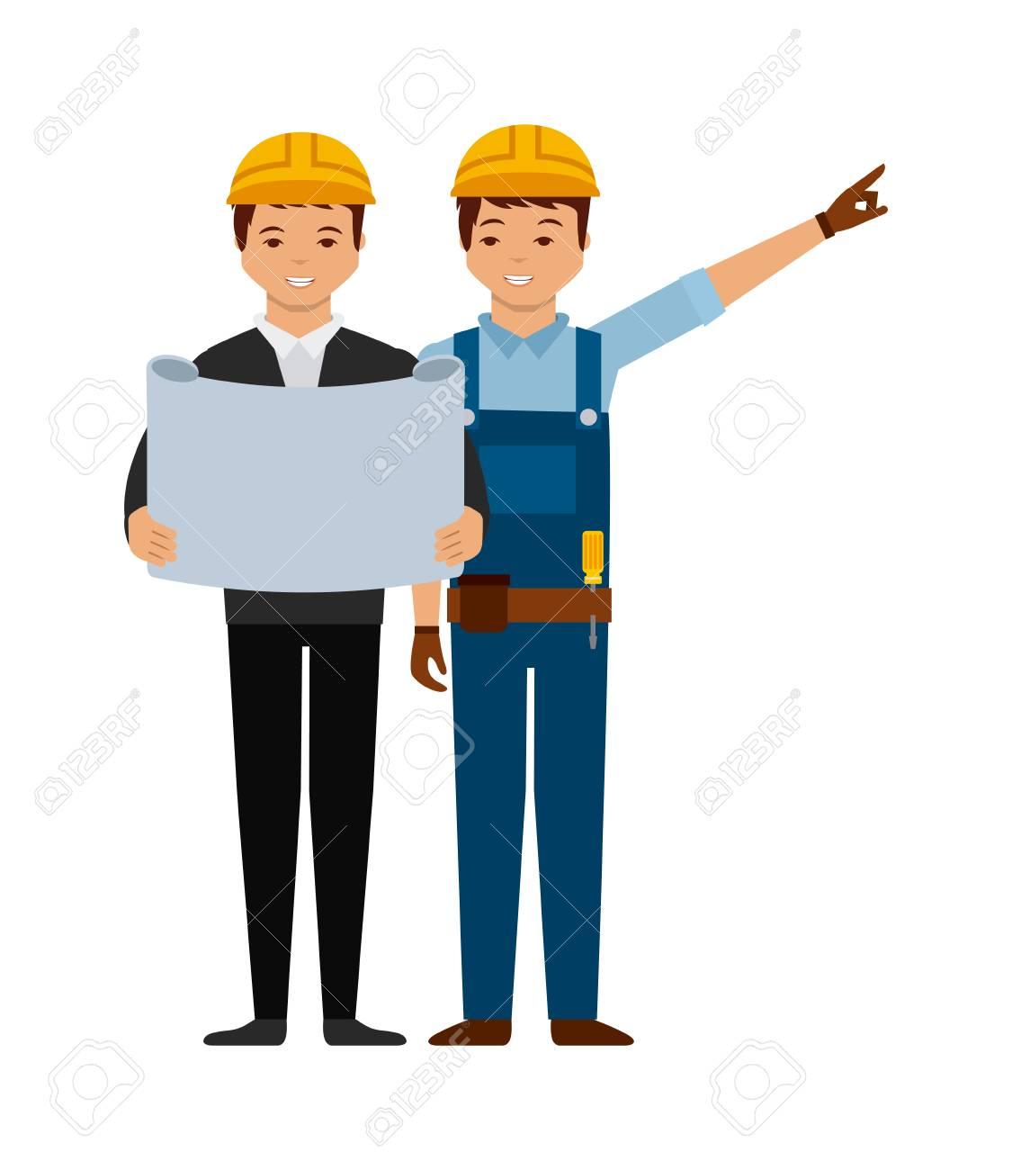 Comic Ikone Ingenieur Und Bauarbeiter Auf Weissem Hintergrund Bunte