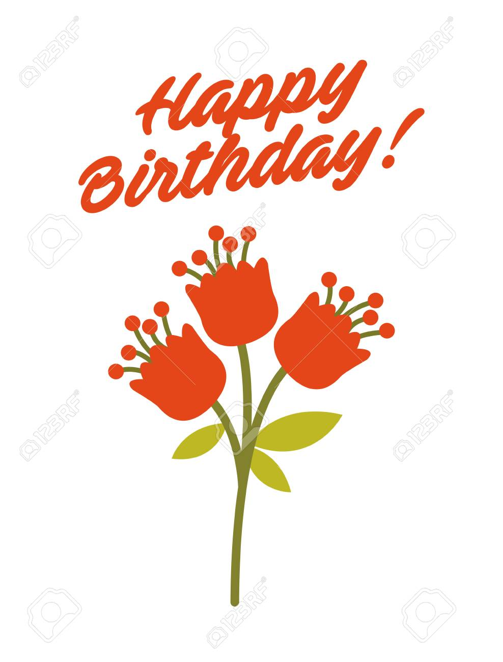 Happy Birthday Card With Flowers Icons Over White Background