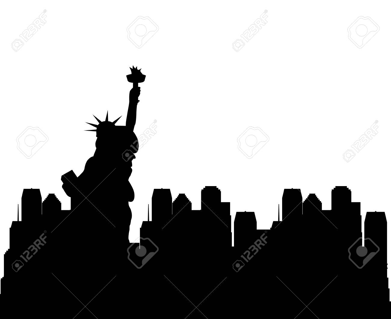 silhouette of new york city with liberty statue. travle and tourism design. vector illustration - 70232913