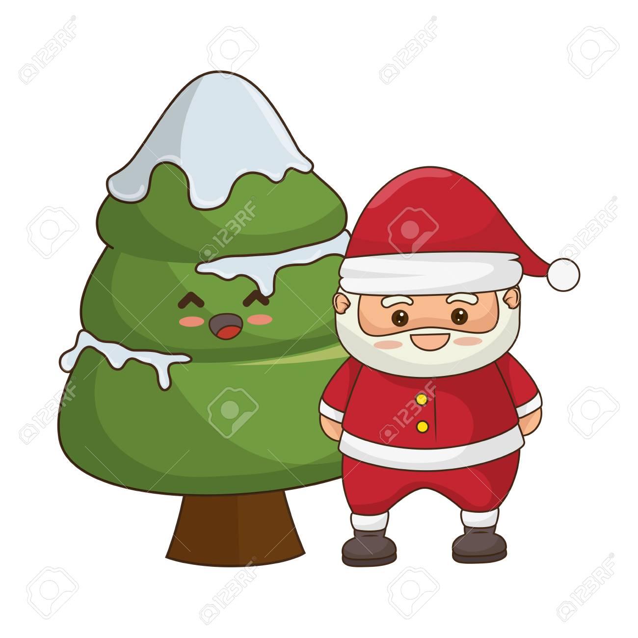 Joyeux Noël Père Noël Kawaii Caractère Vector Illustration Design