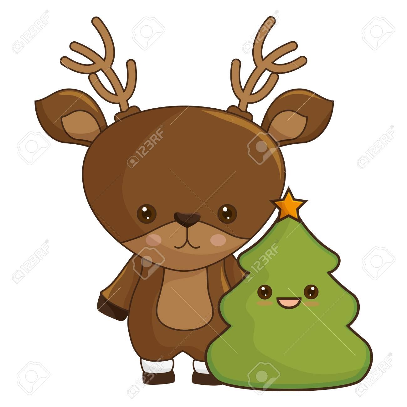 Joyeux Noël Renne Kawaii Personnage Vector Illustration Design Clip