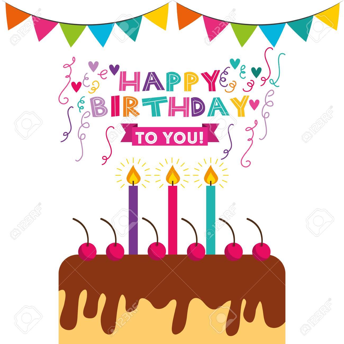 Happy Birthday Celebration Card With Cake Vector Illustration