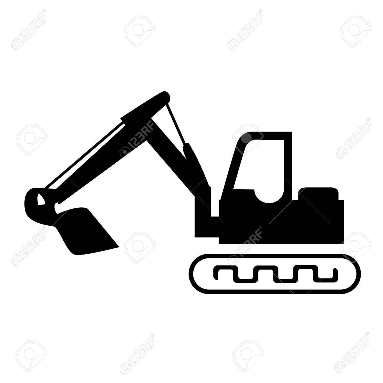 silhouette backhoe with crane for construction vector illustration rh 123rf com construction vector logo free construction vector art