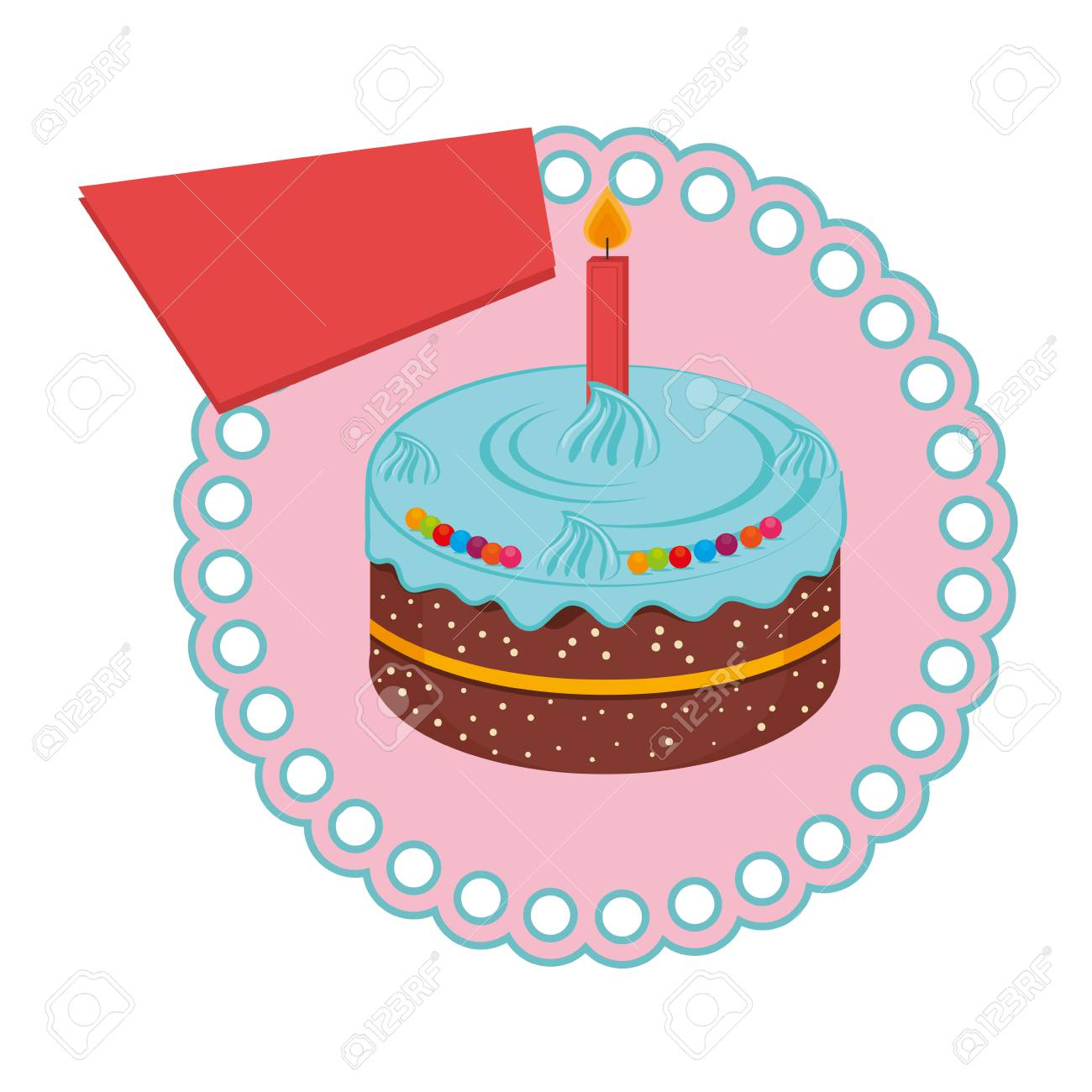 Circular Frame With Birthday Cake With Candle Vector Illustration