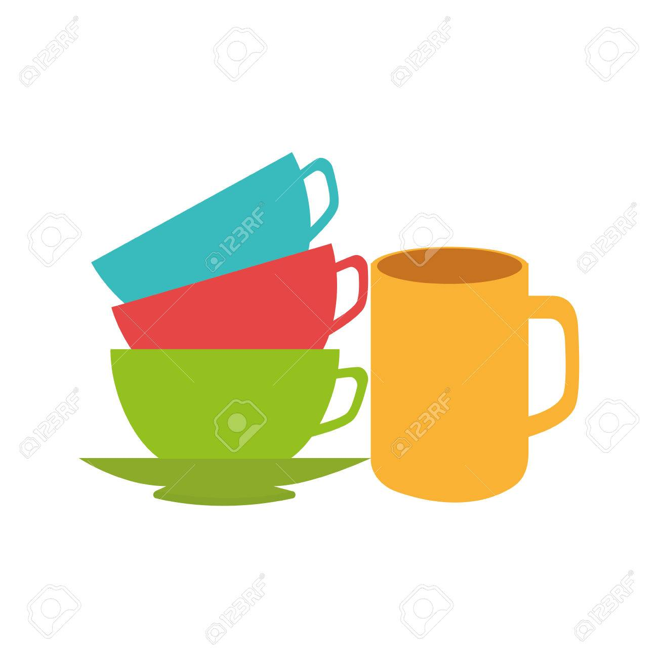 stack of colorful coffee cups vector illustration royalty free