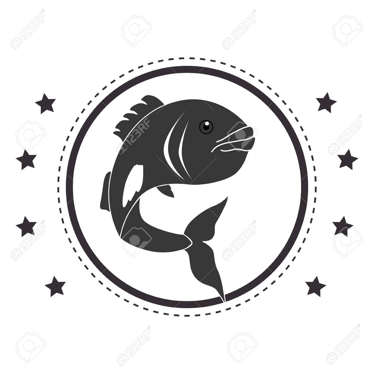 Circular Stamp With Fish Animal Marine Design Vector Illustration Stock