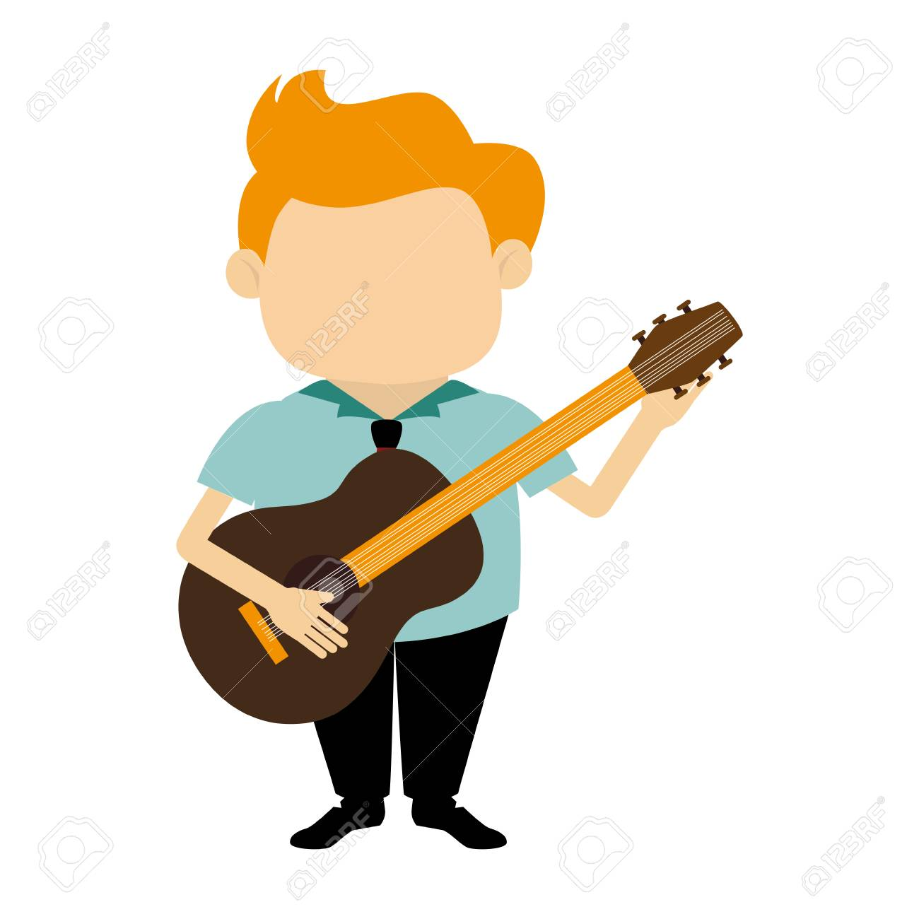 Colorful Silhouette Faceless Singer With Acoustic Guitar Vector