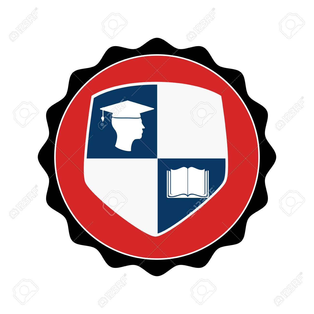 Stamp Circular With Shield Elements Graduation Vector Illustration Stock