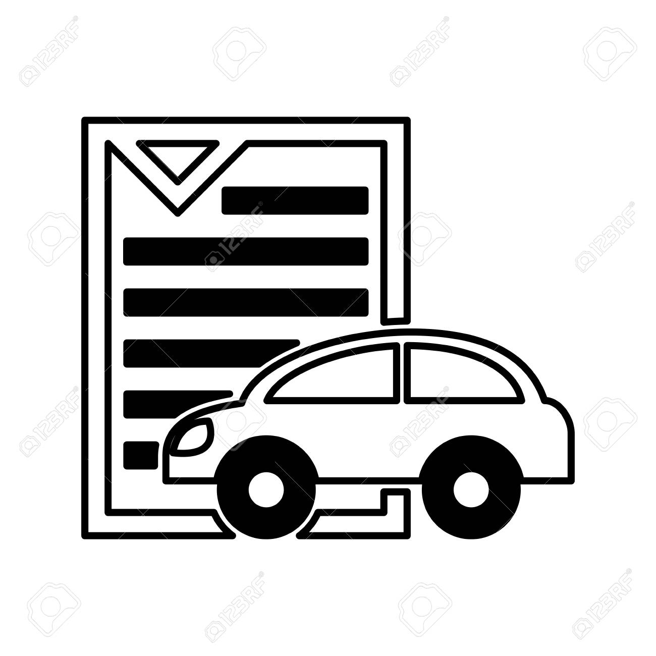 ドキュメント アイコン ベクトル イラスト デザインと車車シルエットの