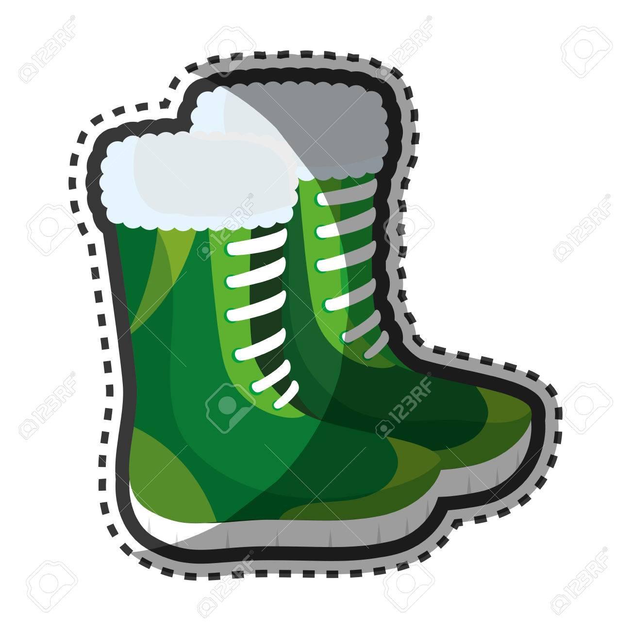 Bottes d'hiver de mode icône design d'illustration vectorielle