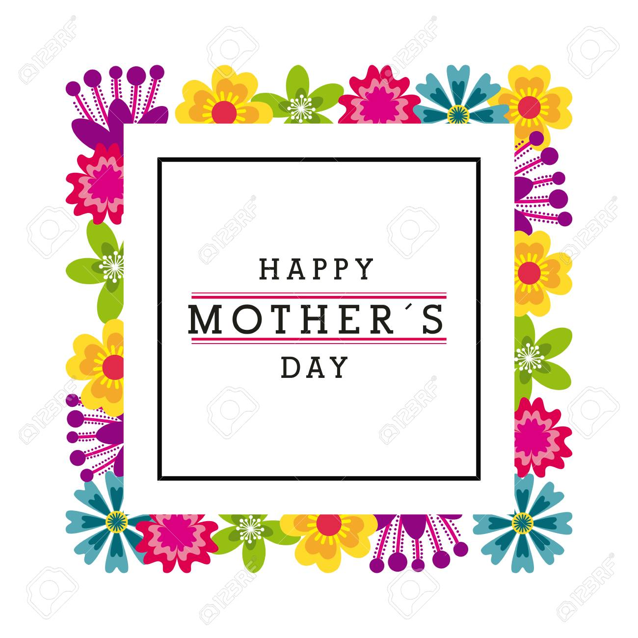 Happy Mothers Day Card With Beautiful Flowers Colorful Design
