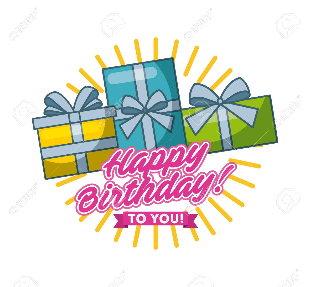 Happy Birthday Card With Gift Boxes Over White Background Colorful Design Vector Illustration Stock
