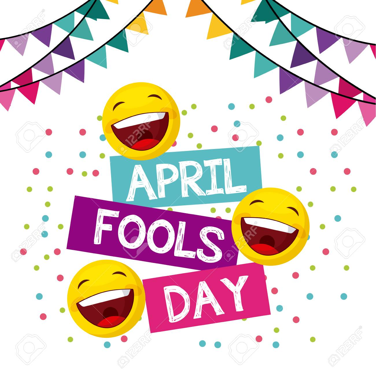 April Fools Day Card With Happy Faces Over White Background... Royalty Free Cliparts, Vectors, And Stock Illustration. Image 73969646.