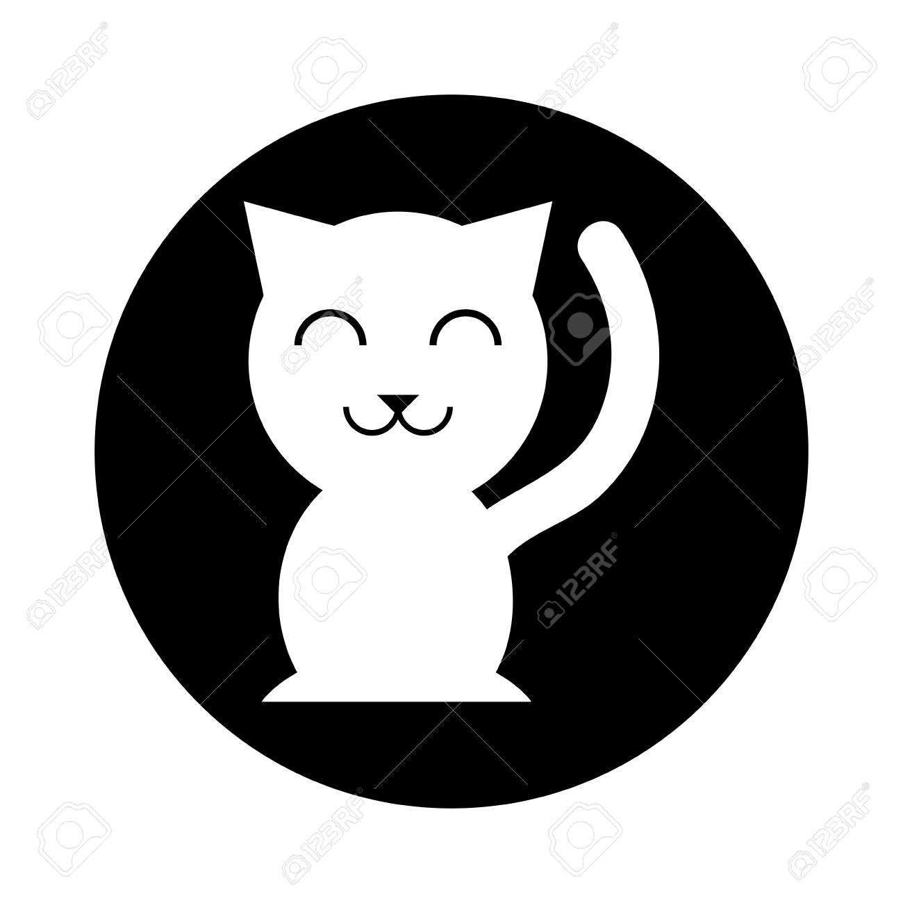 Chinese Cat Lucky Icon Vector Illustration Design Royalty Free