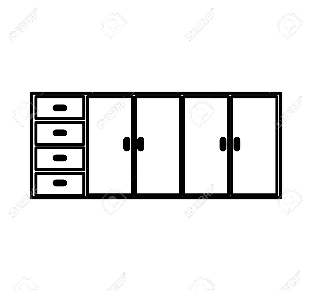 Kitchen Cabinet Isolated Icon Vector Illustration Design Royalty