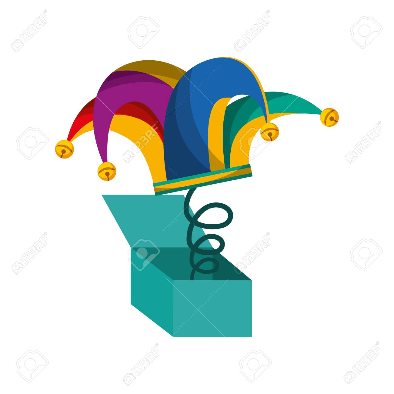 surprise box with harlequin hat isolated icon vector illustration