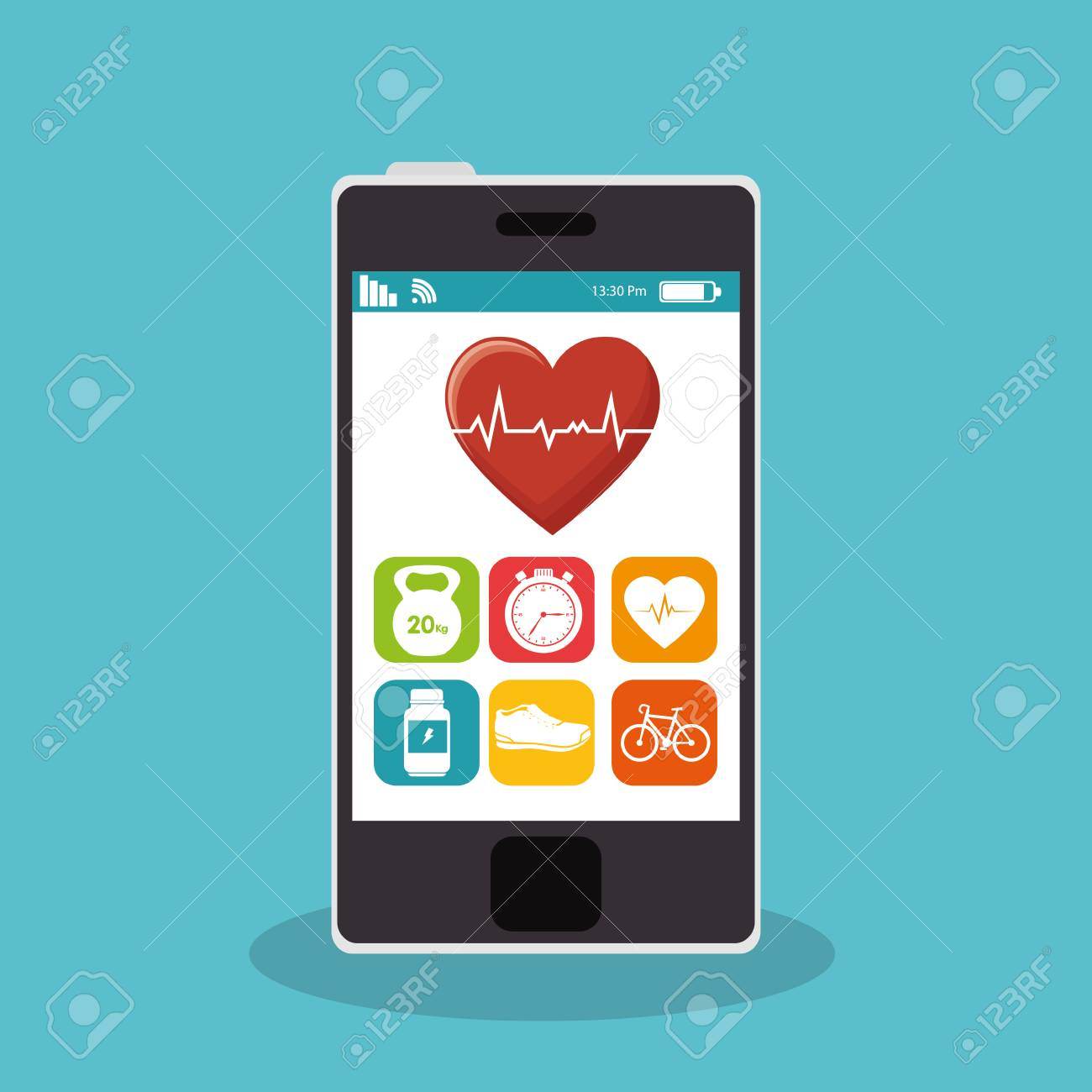 smartphone with fitness app vector illustration design