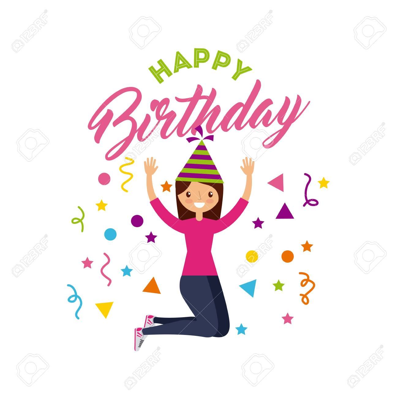 Happy Birthday Card With Girl Wearing A Party Hat Over White Background Colorful Design