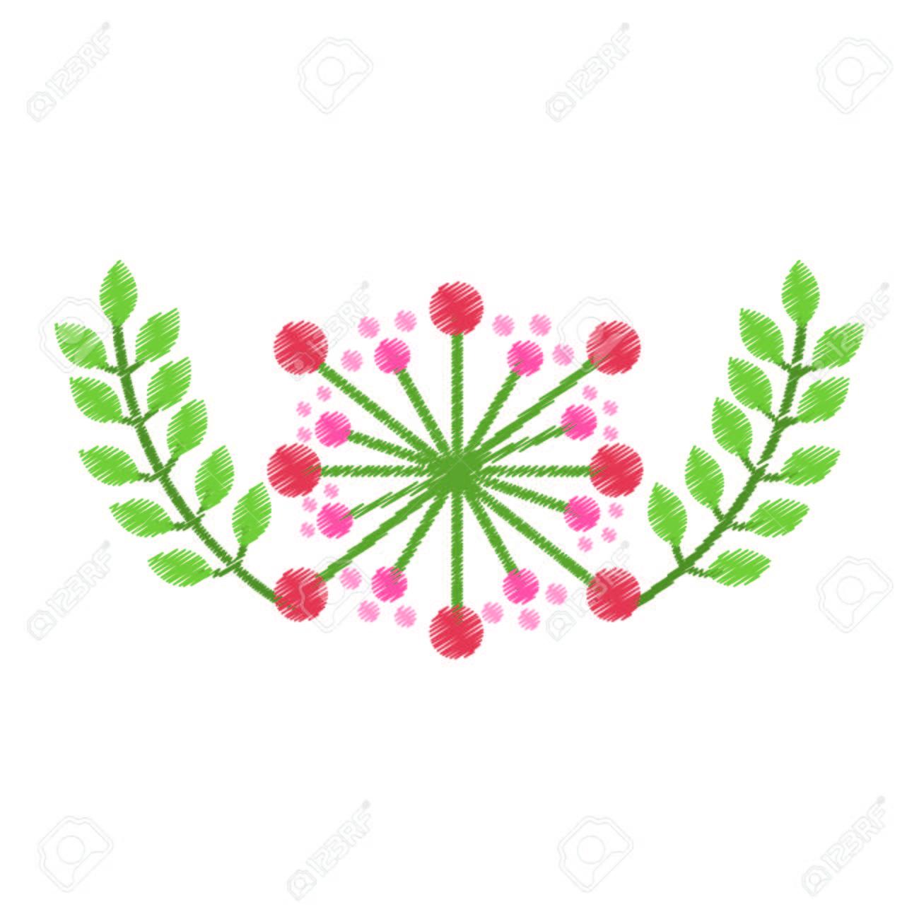 かわいい花装飾アイコン ベクトル イラスト デザインのイラスト素材