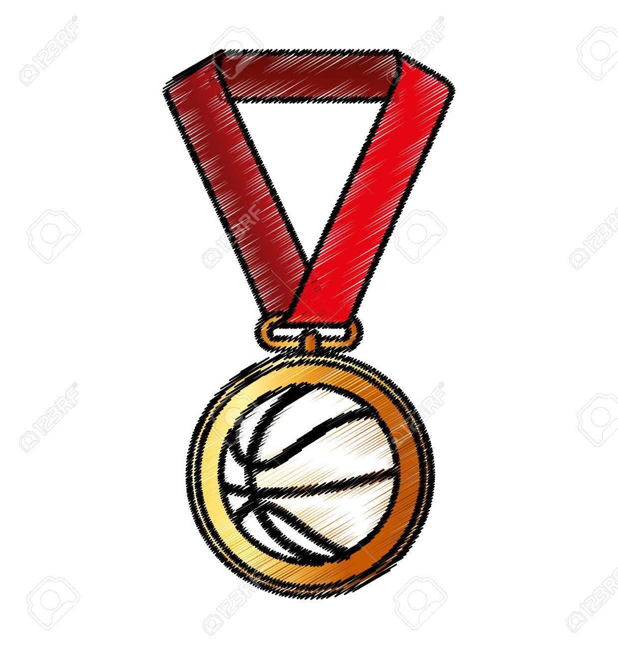 Basketball Medal Isolated Icon Vector Illustration Design Royalty