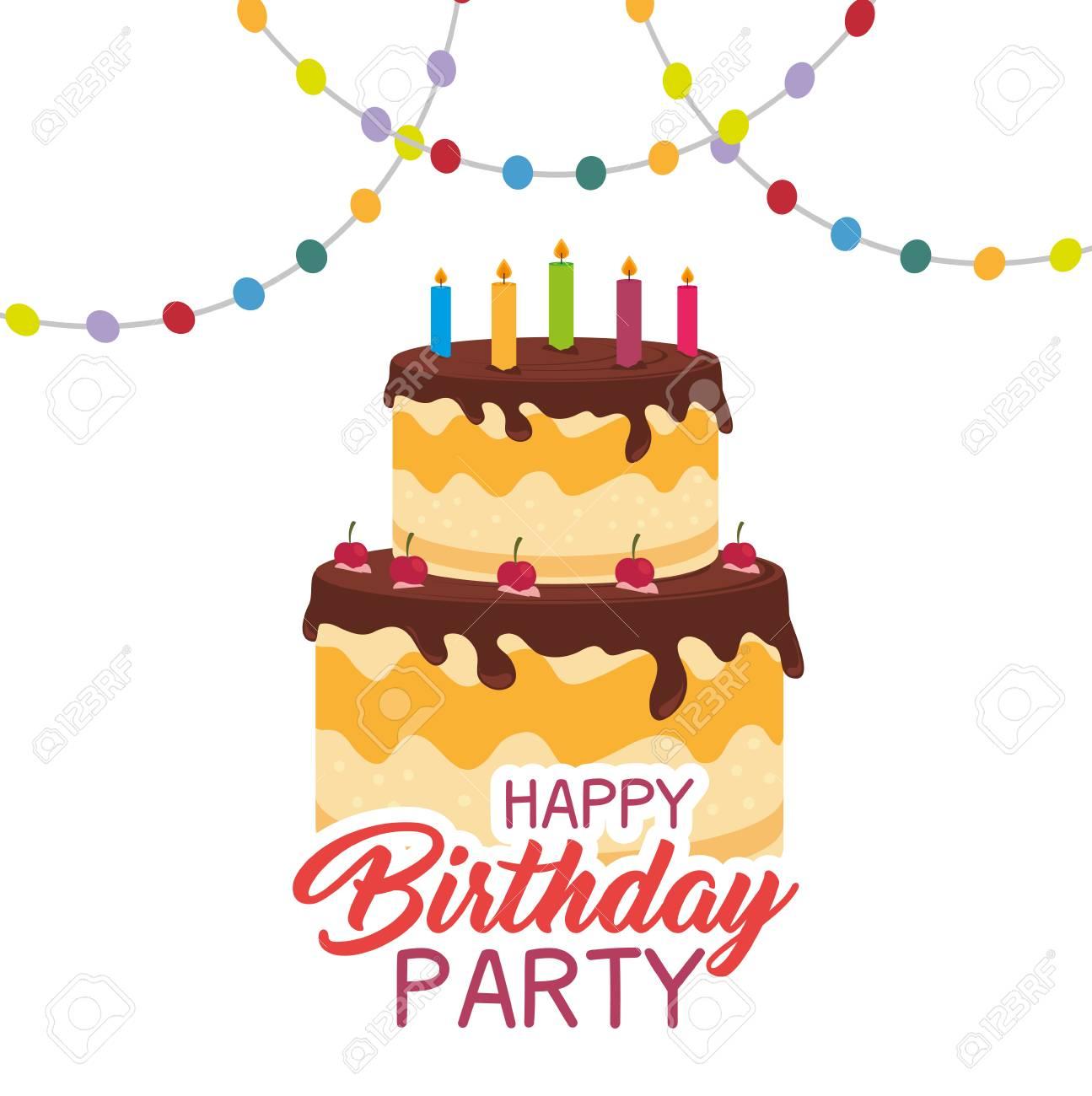 Happy Birthday Cake Card Vector Illustration Design