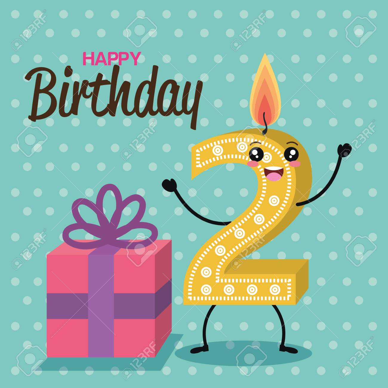 Happy Birthday Candles Cute Numbers Vector Illustration Design Stock