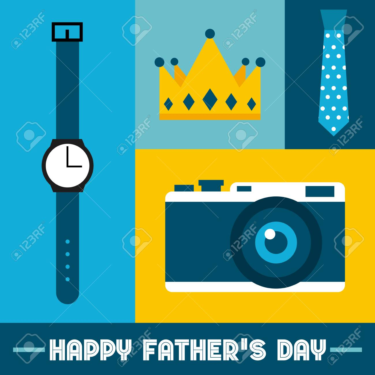 happy father day card with masculine icons hanging colorful