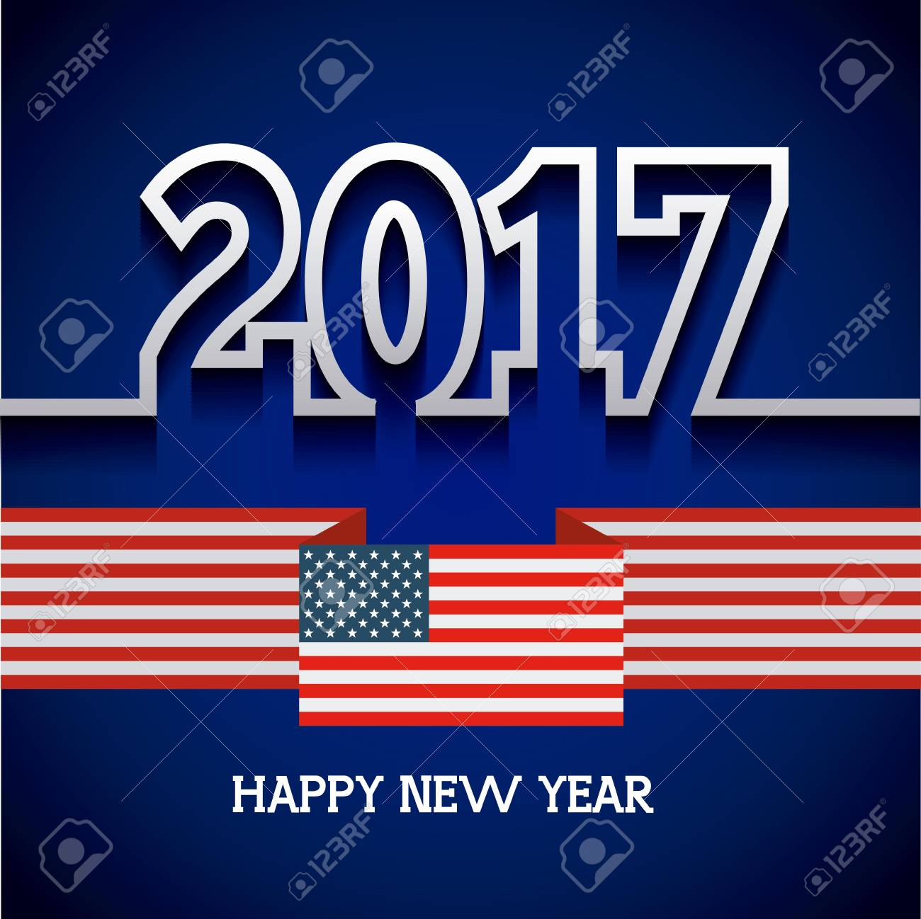 happy new year card with usa concept colorful design vector illustration stock vector