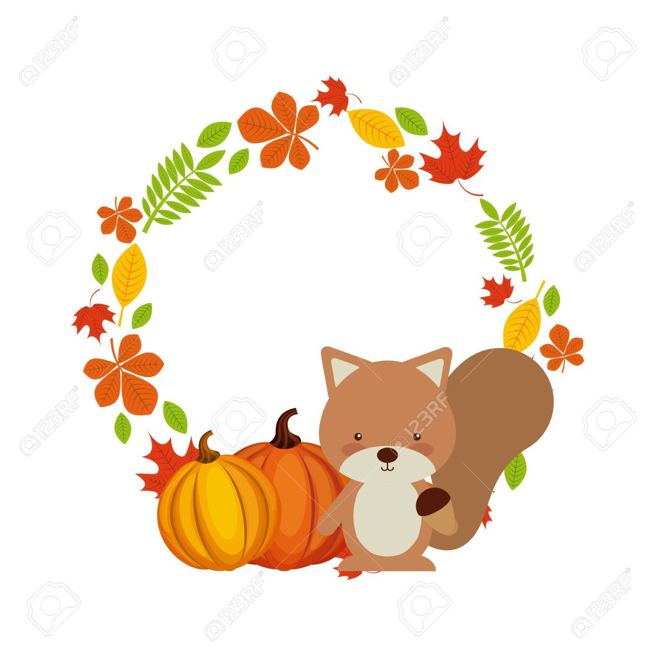 Happy thanksgiving card with wreath of autumn leaves and cute happy thanksgiving card with wreath of autumn leaves and cute chipmunk animal icon colorful design m4hsunfo