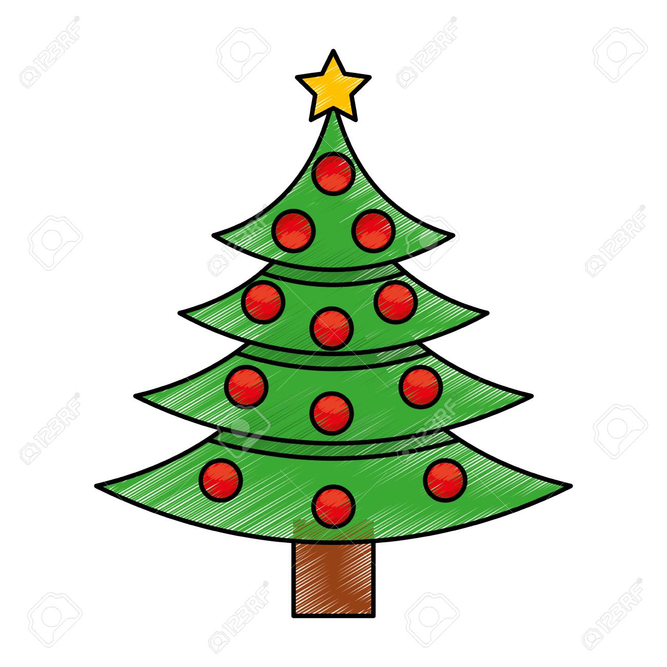 Dessin Anime D Illustration Vectorielle De Sapin De Noel Clip Art Libres De Droits Vecteurs Et Illustration Image 76781109