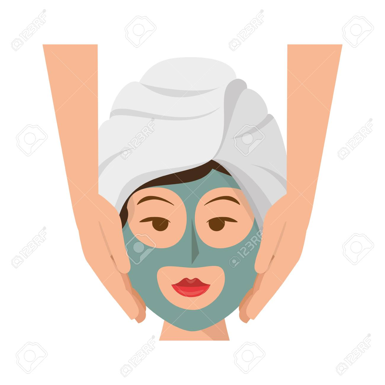 Woman Face With Facial Mask Icon Over White Background Spa Center Royalty Free Cliparts Vectors And Stock Illustration Image 77189868