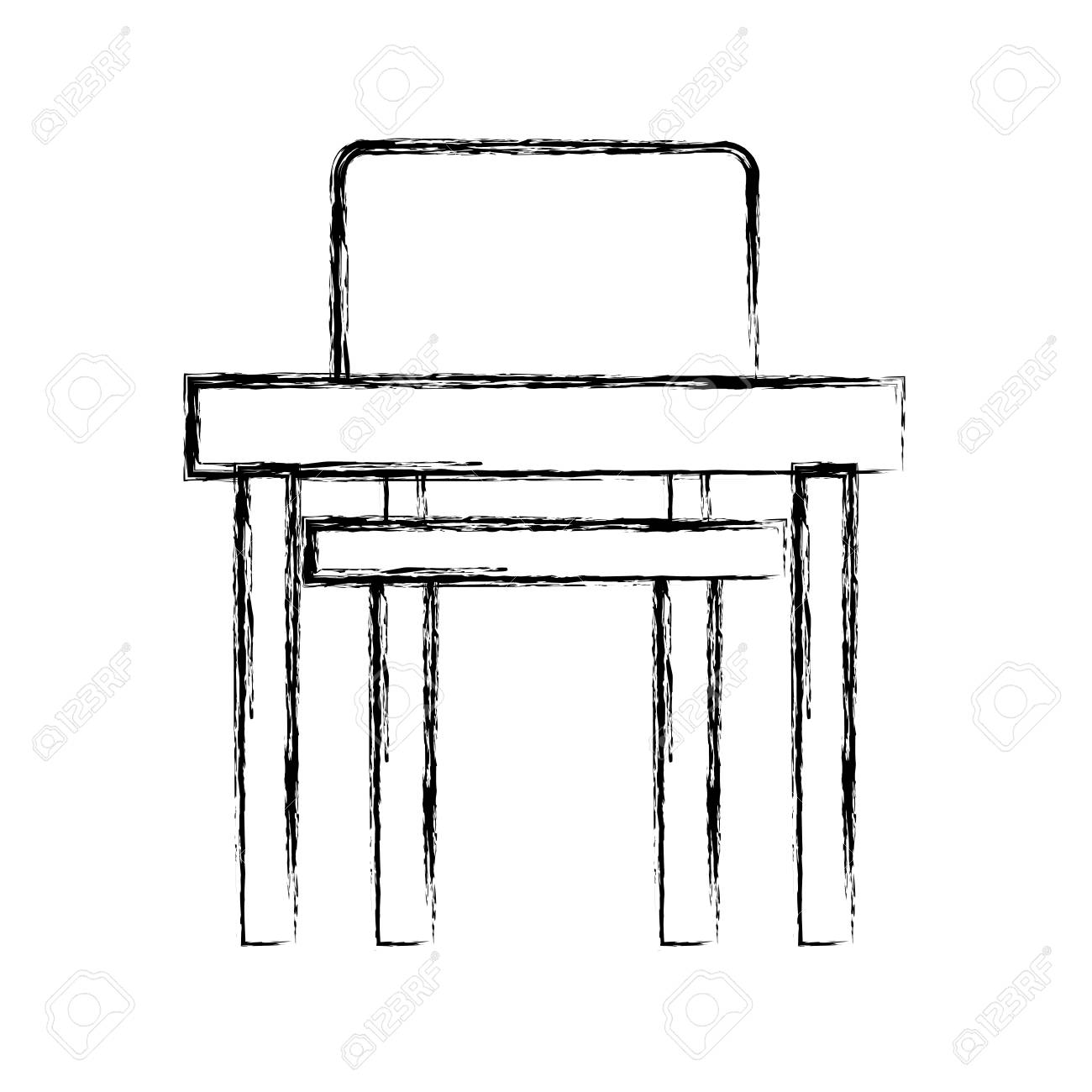 Astounding School Chair And Desk Isolated Icon Vector Illustration Design Onthecornerstone Fun Painted Chair Ideas Images Onthecornerstoneorg