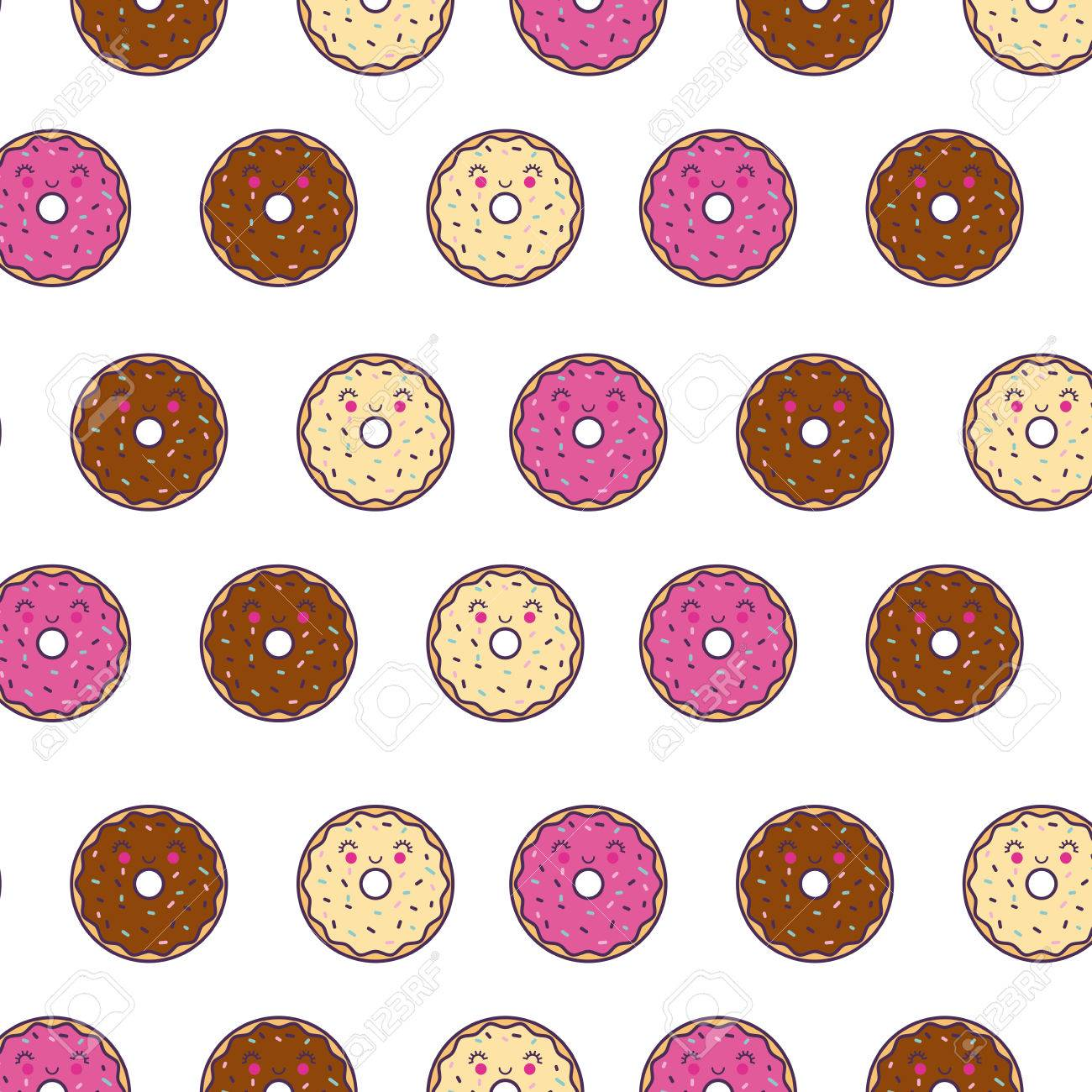 happy donuts girly wallpaper or background image vector illustration design stock vector 77705637