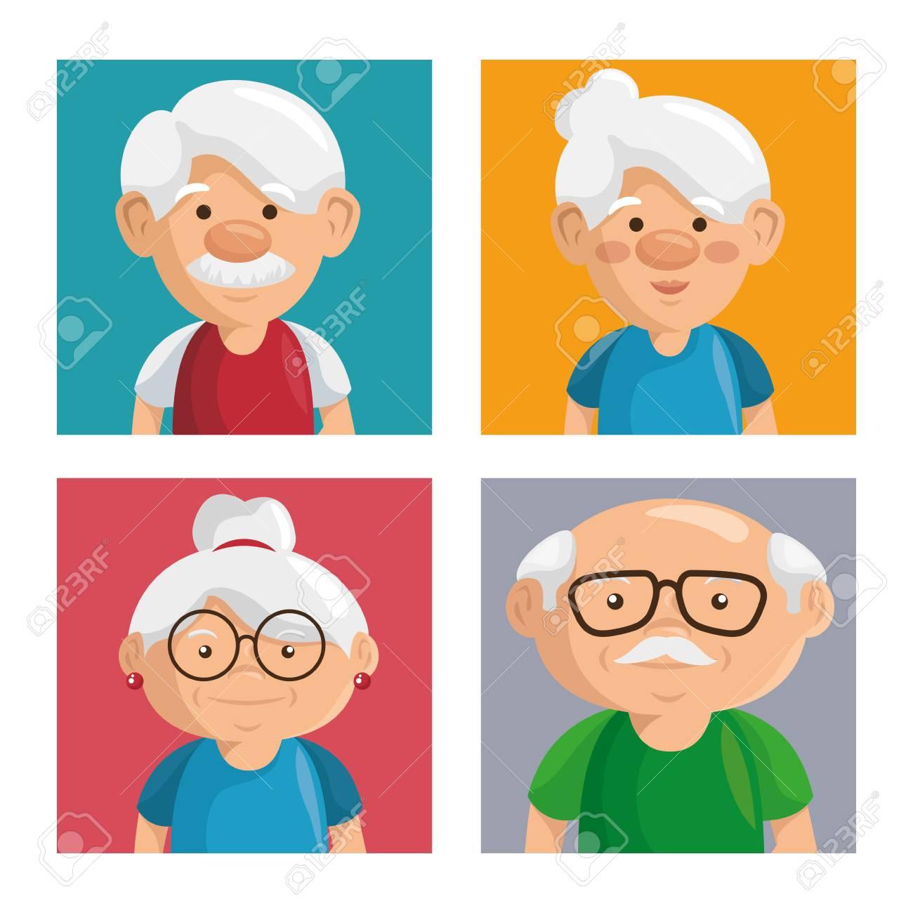 Porträts Der Bunten Großeltern Mit Weißem Rahmen. Vektor ...
