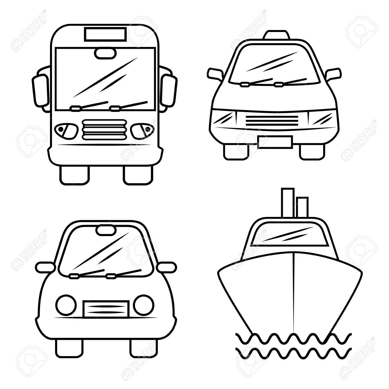 Hand-drawn means of transport over white background. Vector illustration. - 77771988