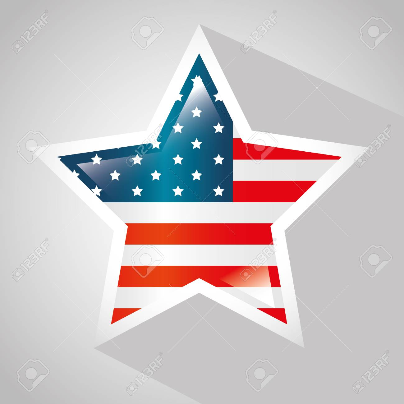 American Flag With Star Shaped Frame Over White Background. Vector ...